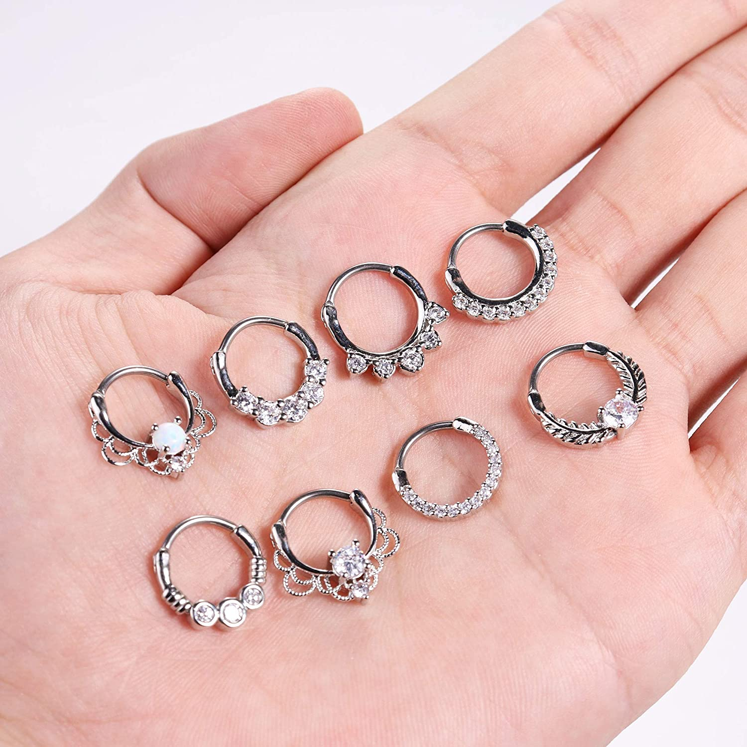 Thunaraz 8Pcs 16G Septum Clicker Ring Stainless Steel CZ Opal Cartilage Helix Tragus Hoop Daith Earrings Nose Rings Hoop Hinged Segment Clicker Ring Piercing Jewelry 10MM