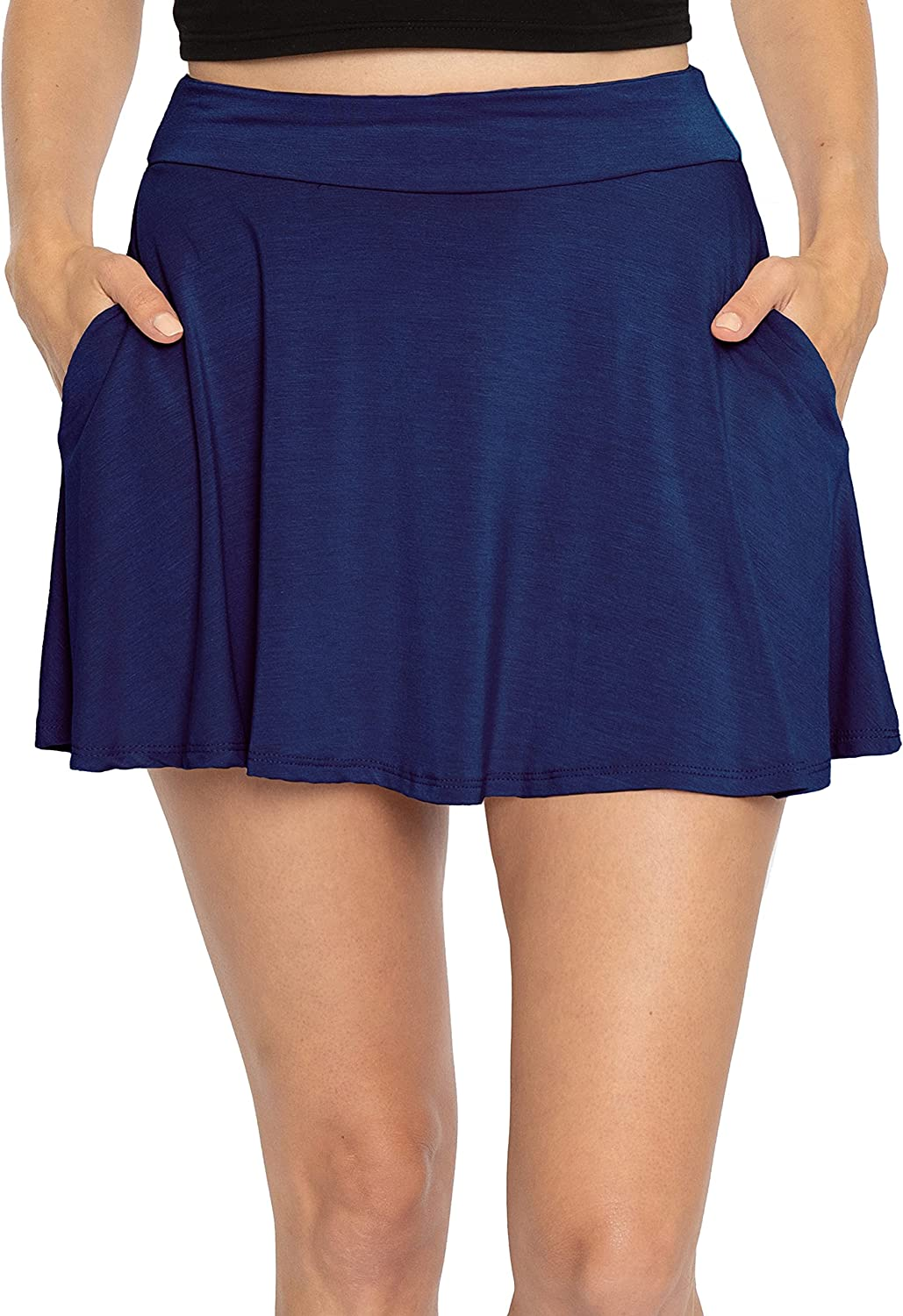 Premium Stretch Rayon Skater Skirt with Pockets   Women's   Made in U.S.A.