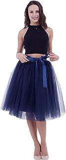 SCFL Women's Tutu Skirt Midi Tulle Skirts 7 Layers Petticoat Underskirt Ballet Skirt Bubble Ball Gown Half Slip Underskirt...