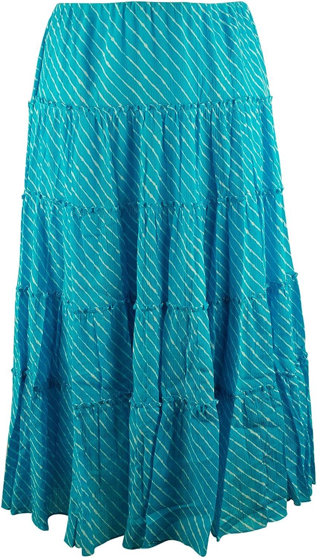 Lauren Ralph Lauren Women's Plus Size Striped Tiered Skirt