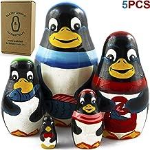 MATRYOSHKA&HANDICRAFT Penguin Nesting Dolls 5 Pieces - Penguin Animal Toys - Penguin Room Decor
