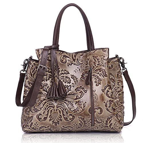 APHISON Designer Unique Embossed Floral Cowhide Leather Tote Style Ladies  Top Handle Bags Handbag 59f2394ae24e0