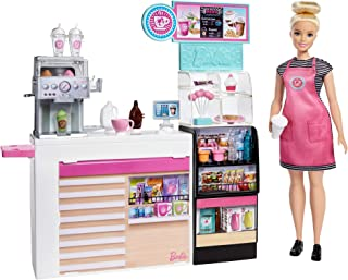Barbie Coffee Shop with 12-in/30.40-cm Blonde Curvy Doll & 20+ Realistic Play Pieces GMW03