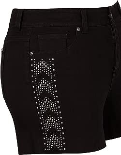 Lane Bryant Studded Denim Black Shorts by Melissa McCarthy