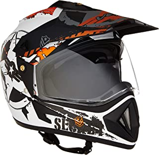 Vega Off Road D/V Secret Full Face Helmet (Dull White and Black, Medium)