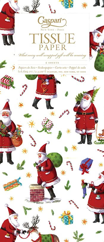 Entertaining with Caspari Busy Santa Tissue Paper, Package of 4 Sheets