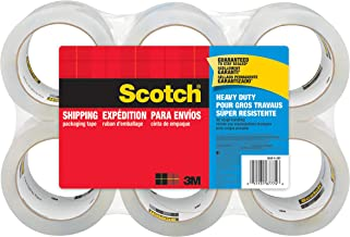 """Scotch Heavy Duty Shipping Packaging Tape, 6-Rolls, Great for Packing, Shipping & Moving, 1.88"""" x 54.6 Yards, 3"""" Core (3850-6)"""
