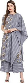 Janasya Women's Grey Cotton Kurta With Palazzo And Dupatta