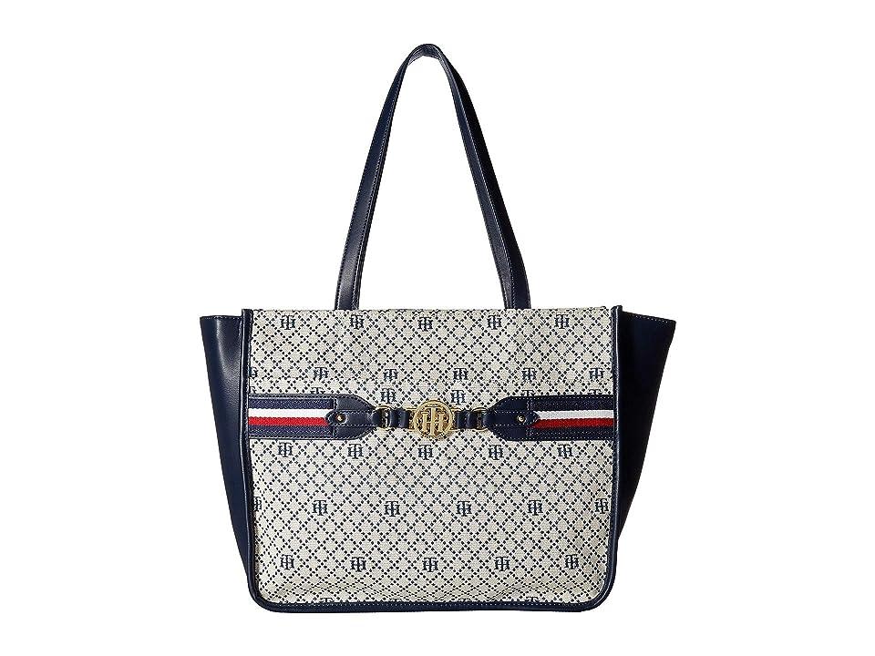 Tommy Hilfiger Brice Tote (Navy/Natural) Tote Handbags