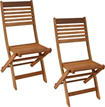 Sunnydaze Meranti Wood Outdoor Folding Patio Chairs - Set of 2 - Outside Wooden Bistro Furniture for Lawn, Deck, Balcony, ...