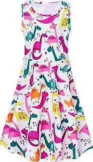 UNIFACO Girls Summer Sleeveless Dress Round Neck Printing Sundress 4-13 Years