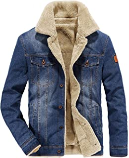 Men's Button Up Vintage Sherpa Fleece Lined Denim Biker Jacket Jean Coat