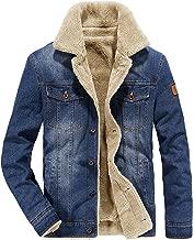 Omoone Men's Button Up Vintage Sherpa Fleece Lined Denim Biker Jacket Jean Coat