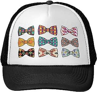 Unisex Adult Trucker Cap -Beautiful Decorative Bow Tie Patterns Hat Black