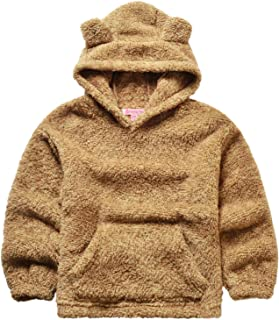 QPANCY Girls Sherpa Pullover Hoodie Kids Fleece Cat Clothes Winter Fall Coat Top
