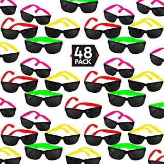 Sponsored Ad - 48 Pack 80's Style Neon Party Sunglasses - Fun Gift, Party Favors, Party Toys, Goody Bag Favors