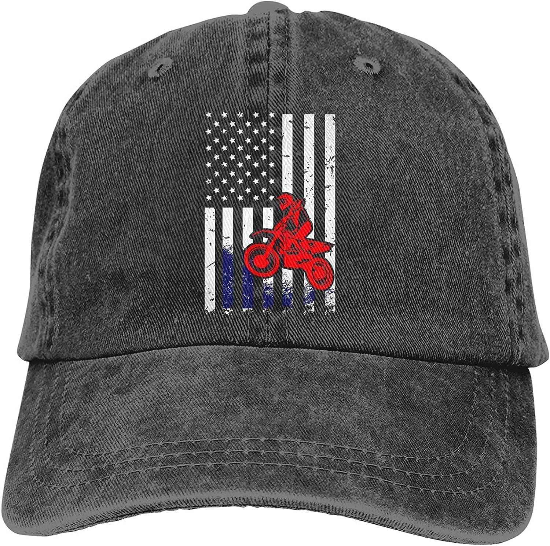 Motocross American Flag Dirt Bike Baseball Cap, Adjustable Size Dad Hat, Vintage Baseball Hats for Men Woman
