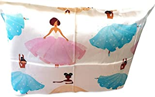 Silk Pillowcase Black Ballerina (100% Organic) for Children, Black Afro Natural Hair Design, Hypoallergenic, Super Soft and Comfortable