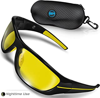Night Driving Glasses for Men/Women - Semi Polarized Yellow Tint - TAC HD Vision for Motorcycle Riding - Chopper