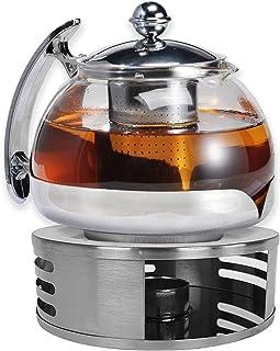 Gravidus Szklany dzbanek do herbaty z sitkiem i podgrzewaczem - 1,2 litra - zaparzacz do herbaty i podgrzewacz herbaty - d...