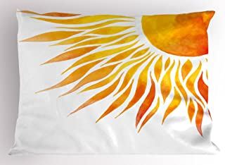 Ambesonne Summer Pillow Sham, Modern Art Watercolor Hand Painted Sun Ombre Image Swirl Like Beams, Decorative Standard Size Printed Pillowcase, 26 X 20 inches, Orange Marigold and Yellow