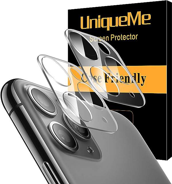 UniqueMe [2 Pack] Protector de Lente de cámara para iPhone 11 Pro/iPhone 11 Pro MAX Cristal Templado Protector de Pantalla [9H Dureza ] [Sin Burbujas] HD Vidrio Templado
