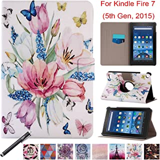 """Folio Case for Kindle Fire 7 2015, Newshine PU Leather 360 Degree Rotating Ultra Slim Case with Card Slots for 2015 Amazon Kindle Fire 7 (Only Fit Fire 7"""" Display 5th Generation) - Spring Flower"""