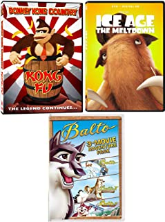 Wings Wolf Balto Adventure Cartoon Pack + Quest 2 / Change 3 & Donkey Kong Country Kong Fu Legend & Ice Age Meltdown Animated 5 Movie DVD set