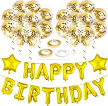 Zelaar Gold Happy Birthday Balloons Banner Set with Confetti Balloons for Birthday Party Decorations