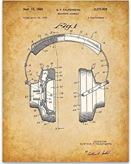 Headphones - 11x14 Unframed Patent Print - Great Room Decor or Gift Under $15 for Musicians or DJs