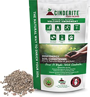 Cinderite 100% Natural Soil Conditioner Amendment for Indoor, Outdoor Plants & Gardens - Volcanic Soil Additive stimulates Soil Micro-Organism Activity. Safe Around Children and Pets – 12 lb. Bag