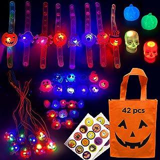 S SWIRLLINE Halloween Party Favors Light Up 42PCS - Bulk Toys Assortment Bucket Stuffers Pinata Filler - Halloween Treat B...