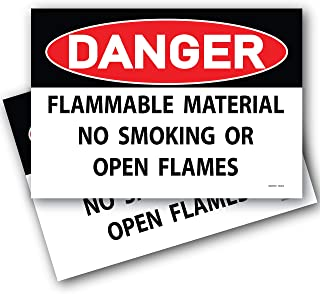 (2 Pack) Danger Flammable Material No Smoking or Open Flames Sign 7