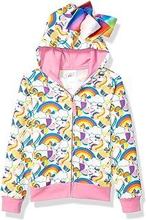 JoJo Siwa Girls' Little Unicorns & Rainbows All Over Print Zip Up Hoodie with Bow, White/Pink, M-5/6