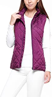 GG Golooper Women's Vest-Lightweight Quilted High Collar Zip Vest Padded Gilet (Wind Red, XL)
