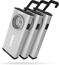 500-Lumen LED COB Work Flashlight: Rechargeable Light Equipped with Dimming and Power Memory Recall Featuring A Pocket Clip, Hanging Hook and Magnetic Base - Silver 3 pack