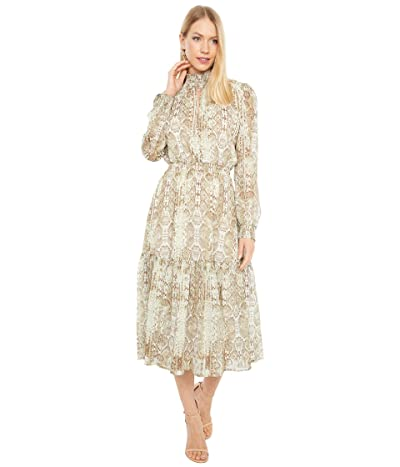 WAYF Alston Tiered Smocked Waist Midi Dress (Sand Snake) Women