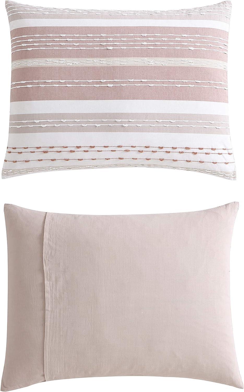 "Swift Home Talise Cotton Dobby Weave Slub Stripe Yarn-Dyed3-Piece Comforter Set wih Matching Shams, Oeko-Tex Certified, Breathable, All Season - Brown, King/Cal King (104"" x 92"") : Everything Else"