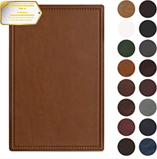 Leather Repair Patch Self-Adhesive Couch Patch Emboss Leather 5X8 inch for Sofas, Car Seats, Handbags, First Aid Patch (Smooth Weave Tawny)