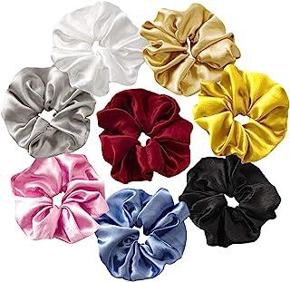 12 Pieces Satin Hair Scrunchies Silk Elastic Hair Bands Skinny Solid Hair Ties Ropes Ponytail Holder for Women Girls Hair ...