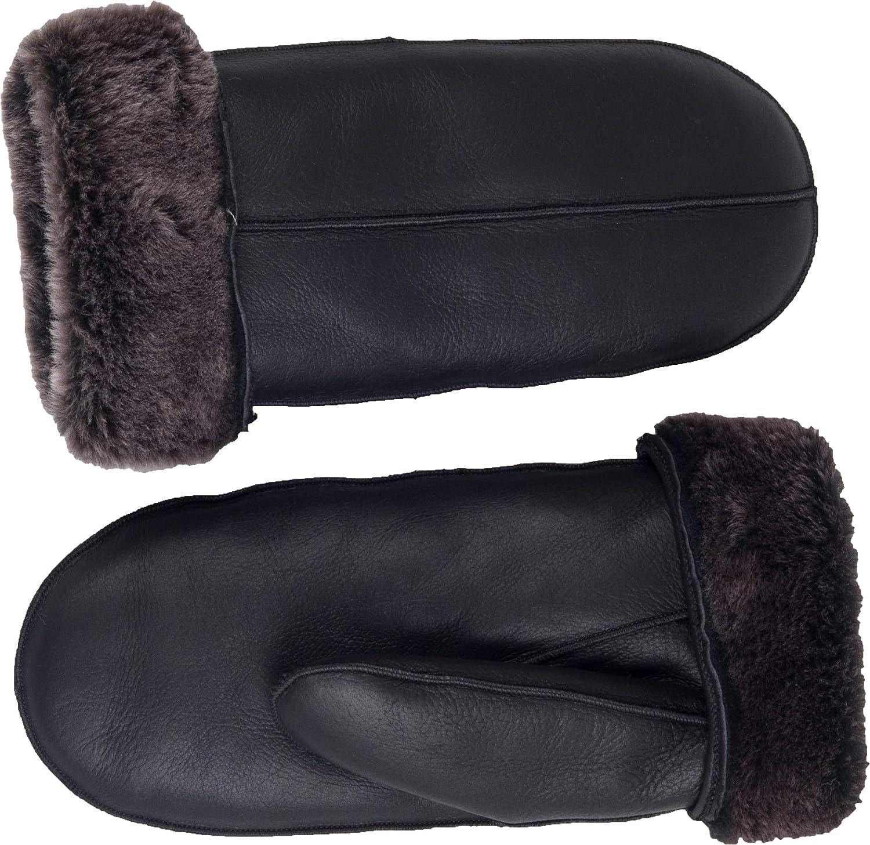 Zavelio Men's Premium Shearling Sheepskin Leather Fur Mittens