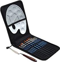Artina 15tlg Pinsel Set Rom - Pinselset für Maler - Hochwertiges Etui, Mischpalette, 12 Künstler Pinsel, Spachtel