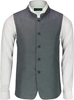 Mens Vintage Chinese Grandad Collar Waistcoat Retro Indian Nehru Beatle Style[INWC,38,Grey]