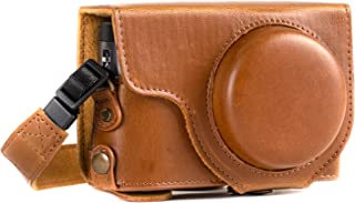 MegaGear MG1260 Ever Ready Leather Camera Case compatible with Panasonic Lumix DC-ZS80, DC-ZS70, DC-TZ95, DC-TZ90 - Light Brown