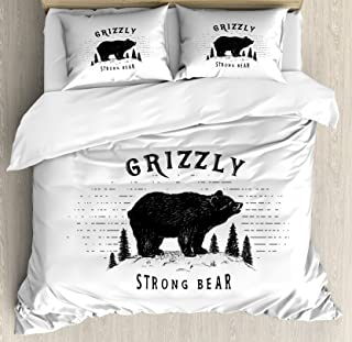 Ambesonne Bear Duvet Cover Set, Strong Grizzly Bear in The Forest Vintage Grunge Look Life in The Mountains Theme, Decorative 3 Piece Bedding Set with 2 Pillow Shams, King Size, White Black