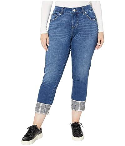 Jag Jeans Plus Size Plus Size Carter Girlfriend Jeans w/ Plaid Cuff in Brilliant Blue (Brilliant Blue) Women
