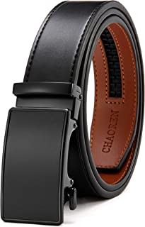 Sponsored Ad - Chaoren Leather Ratchet Dress Belt 1 3/8 with Automatic Slide Buckle, Click Adjustable Trim to Fit in Gift Box
