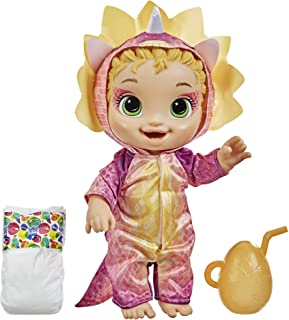 Baby Alive Dino Cuties Doll, Triceratops, Doll Accessories, Drinks, Wets, Triceratops Dinosaur Toy for Kids Ages 3 Years a...