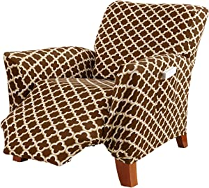 Printed Twill Recliner Slipcover. One Piece Stretch Recliner Cover. Strapless Recliner Cover for Living Room. Fallon Collection Slipcover. (Recliner, Chocolate)