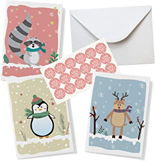Cute Animal Christmas Cards Assorted - 54 Pieces Set - Includes 18 Pcs Each Cards, Envelopes, Stickers. Happy Holiday Card...